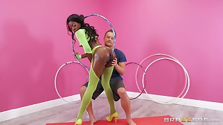 Diabolical near yellow fishnets Anne Amari swallows a huge load