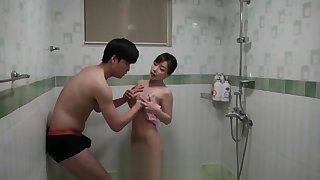randy korean couple having hot shower fuck