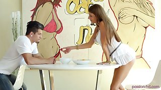 Standing on knees buxom sexpot Dillion Carter gives astounding blowjob