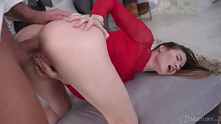 Rather wild and natural Russian cowgirl Lovenia Lux gets anus stretched