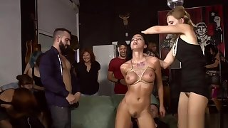 Slut caned and anal banged in public