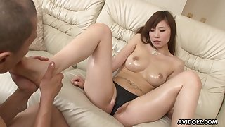 Perky Japanese tits look breathtaking covered in oil