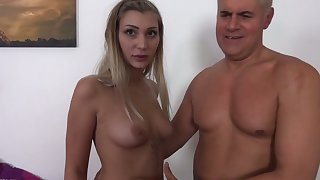 Sexy natural hooker Haley Hill strokes and sucks dick before mish