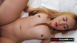 Asian young babe blows up and licks a big white chopper in POINT OF VIEW